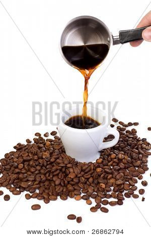 coffee beans and outpouring coffee