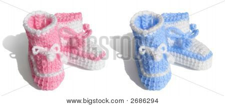 New Baby, Girl Or Boy. Tiny Bootees