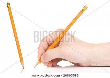 male hand and yellow wood pencil