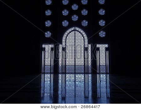 Blue Light Reflects Thru Stained Glass Windows Of Doorway