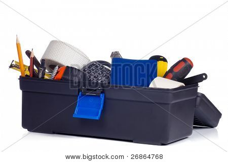 kit of tools in black box