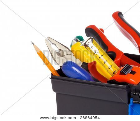 isolated tool box on white