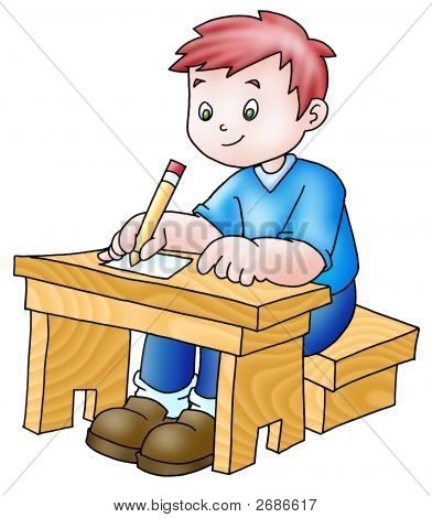 Boy In A Desk