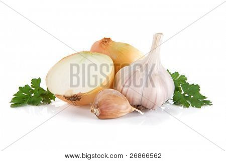 garlic, onion and green parsley isolated on white background