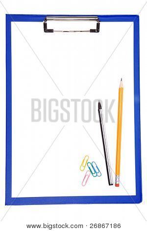 blue clipboard with paper, pen and pencil isolated on white background