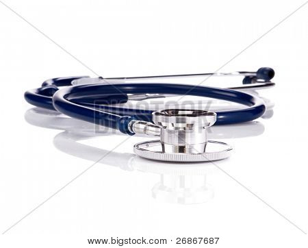 black and blue stethoscope isolated on white background