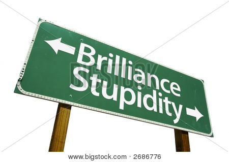 Brilliance, Stupidity - Road Sign