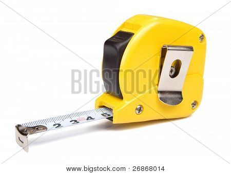 yellow tape measure isolated on white background