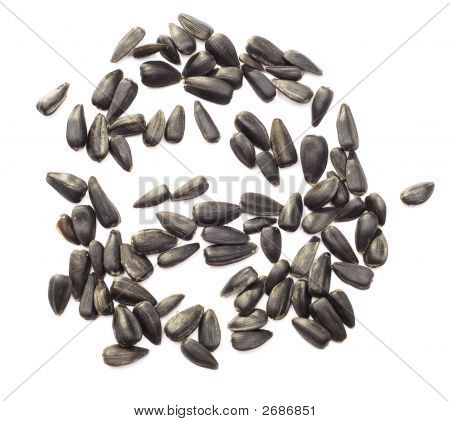 Sunflower Seeds Over White