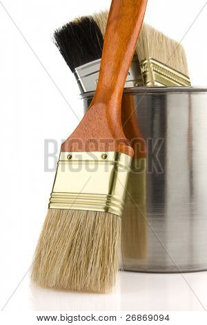 paint bucket and brush isolated on white background