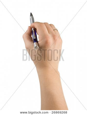 pen and male hands isolated on white background