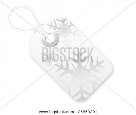 Christmas Gift Tag With Snowflakes In White