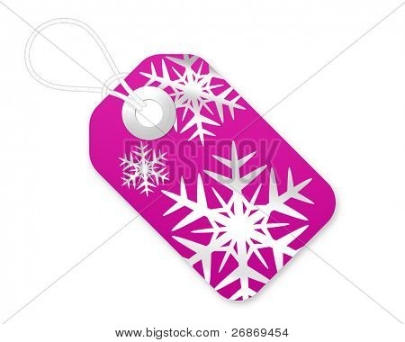 Christmas Gift Tag With Snowflakes In Pink