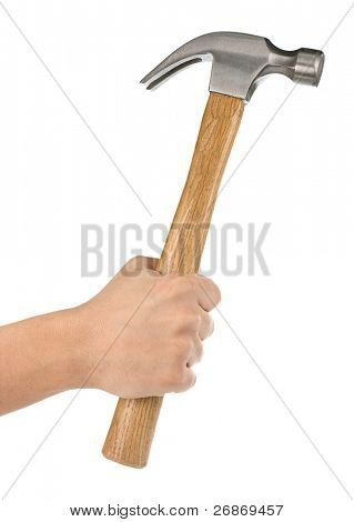 hand holding hammer isolated on white background