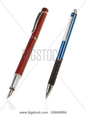 red and blue silver shining pens isolated on white background