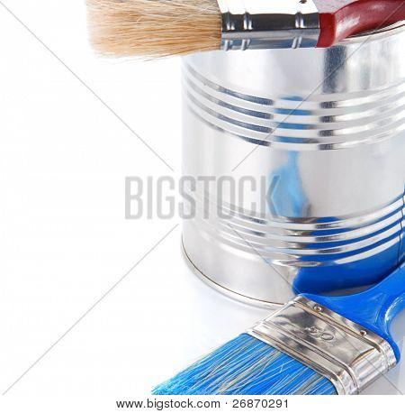 blue paint brush and metal bucket isolated on white background