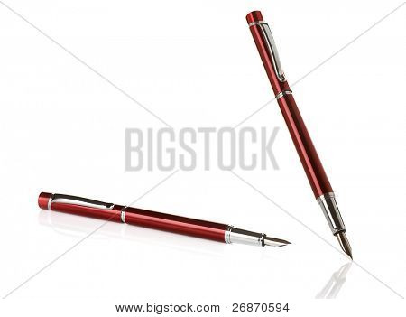 ink silver pens isolated on white background