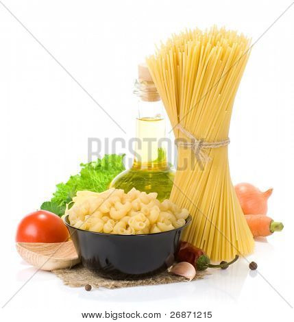 raw pasta and healthy food isolated on white background