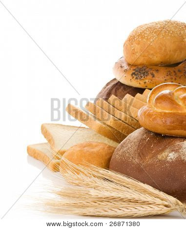 set of bakery products isolated on white background