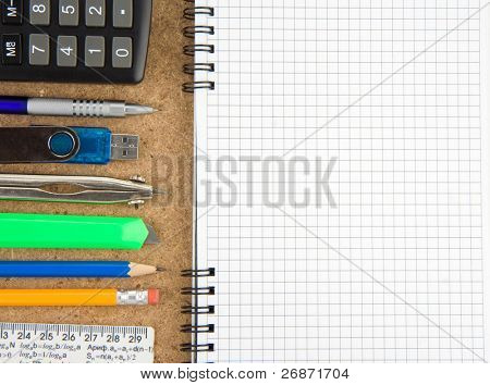 office accessory and notebook with copy space