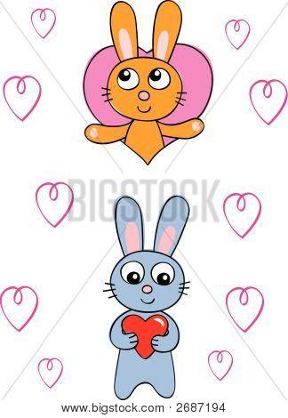 Cute Bunny Rabbits With Hearts