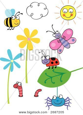 Collection Of Cartoon Vector Bugs