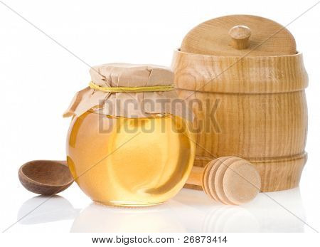 honey jar and pot isolated on white background