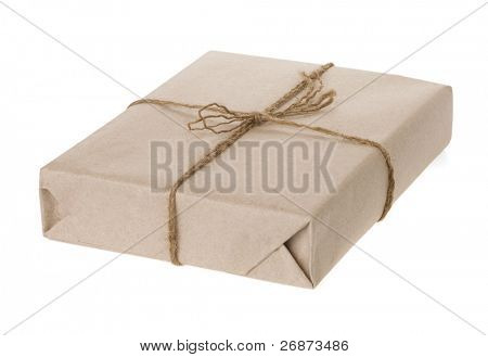 parcel wrapped and paper tied with rope isolated on white background