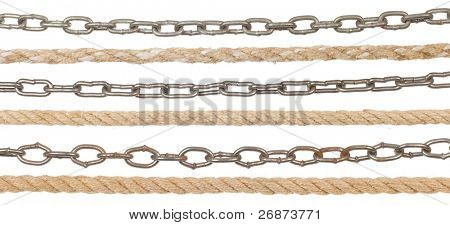 metal chain and rope isolated on white background