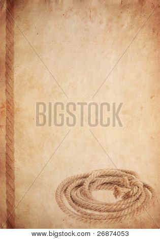 rope on old paper parchment background