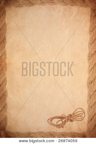 ship rope on old paper parchment background