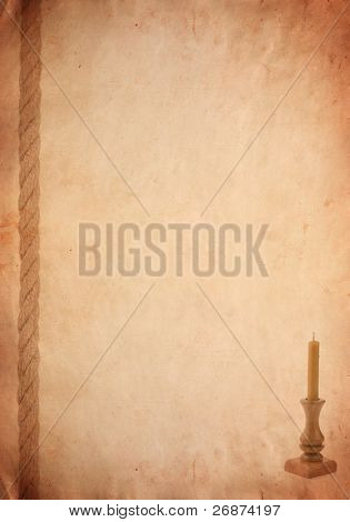 rope and candlestick on old paper parchment background