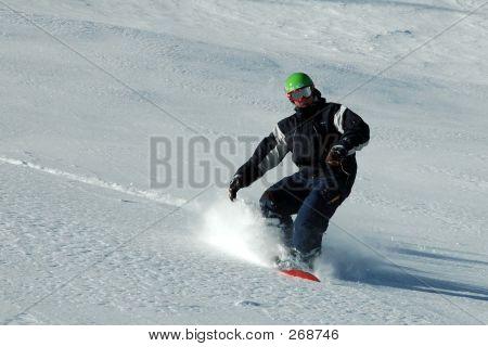 Snowboarder In Pulver