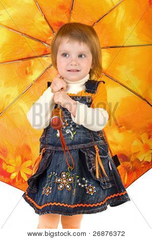 Beautiful little girl and her closed umbrella