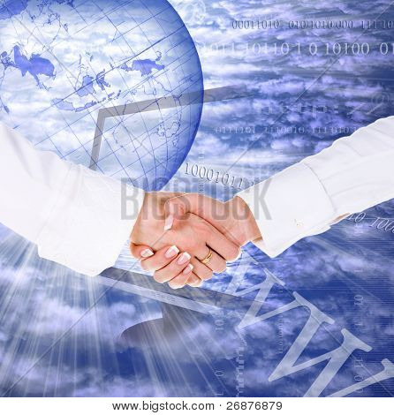 Business handshake on the internet concept background