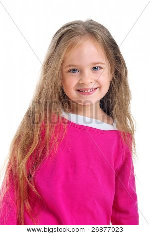 Cute little girl with long hair on a white background close-up
