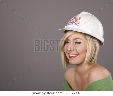 Blonde In Hard Hat Eyes Closed