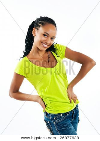 beautiful mulatto girl on white background