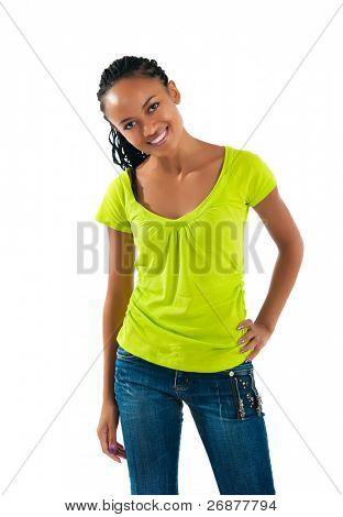 beautiful mulatto girl on white background