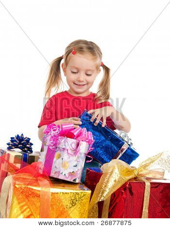 Four years old girl wih the presents