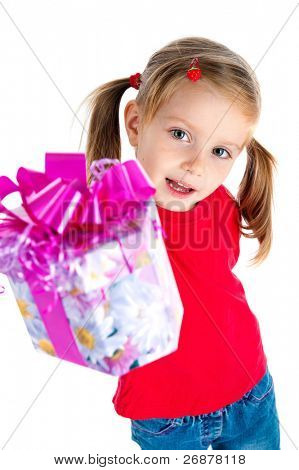 Four years old girl wih the present