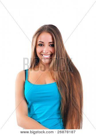 mujer linda feliz sobre fondo blanco