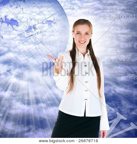 businesswoman on a background a planet internet concept