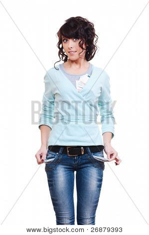 young woman hide her money and showing empty pockets. isolated on white background