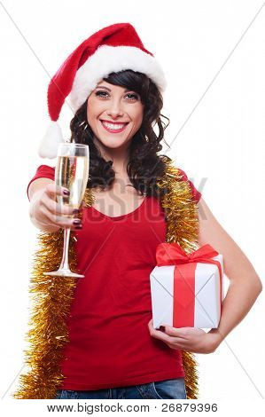 cheerful young woman holding glass and gift. isolated on white background