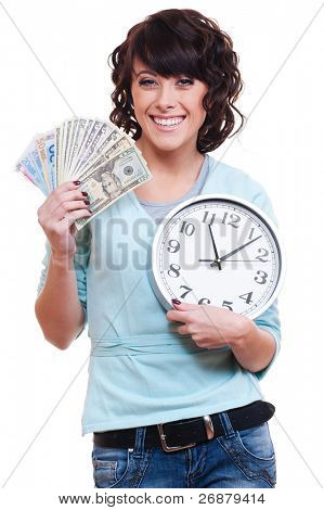 smiley young woman holding money and clock. isolated on white background