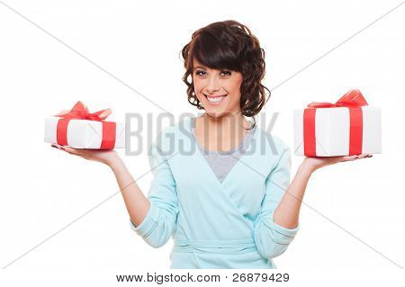 smiley woman holding gift boxes. isolated on white background