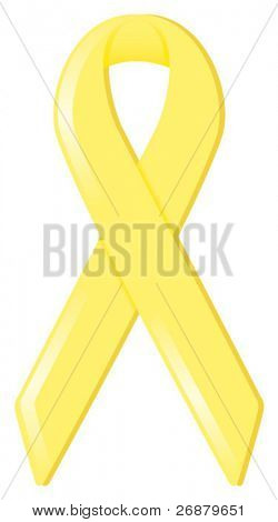 Yellow satin awareness ribbon, supporting various causes including