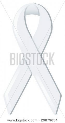 White satin awareness ribbon, supporting various causes including gender violence, lung cancer, and victims of terrorism