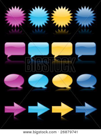 Colorful glossy web icons in purple, aqua, yellow and blue, including speech bubbles